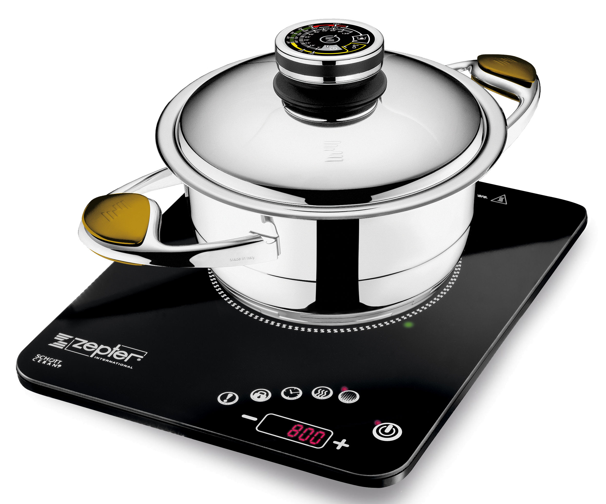 All Zepter Masterpiece Cookware pots have the patented accuthermal bottom which work perfectly with the new Radio Induction Cooker