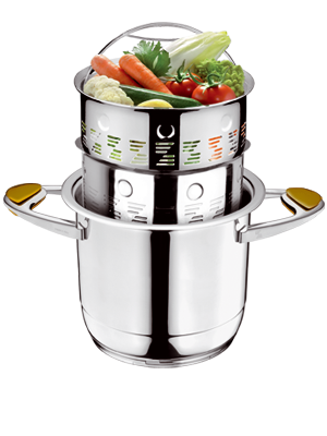 The Steam Basket System let's you cook in a healthier,